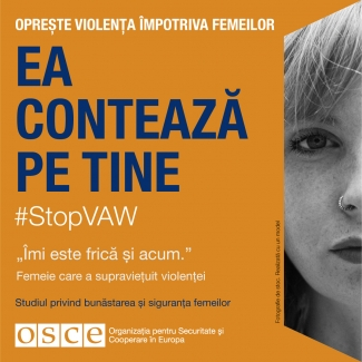 #StopVAW She Is Counting On You Banner for Moldova in Romanian