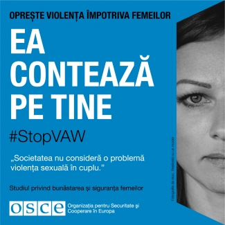 #StopVAW She Is Counting On you Banner for Moldova in Romania
